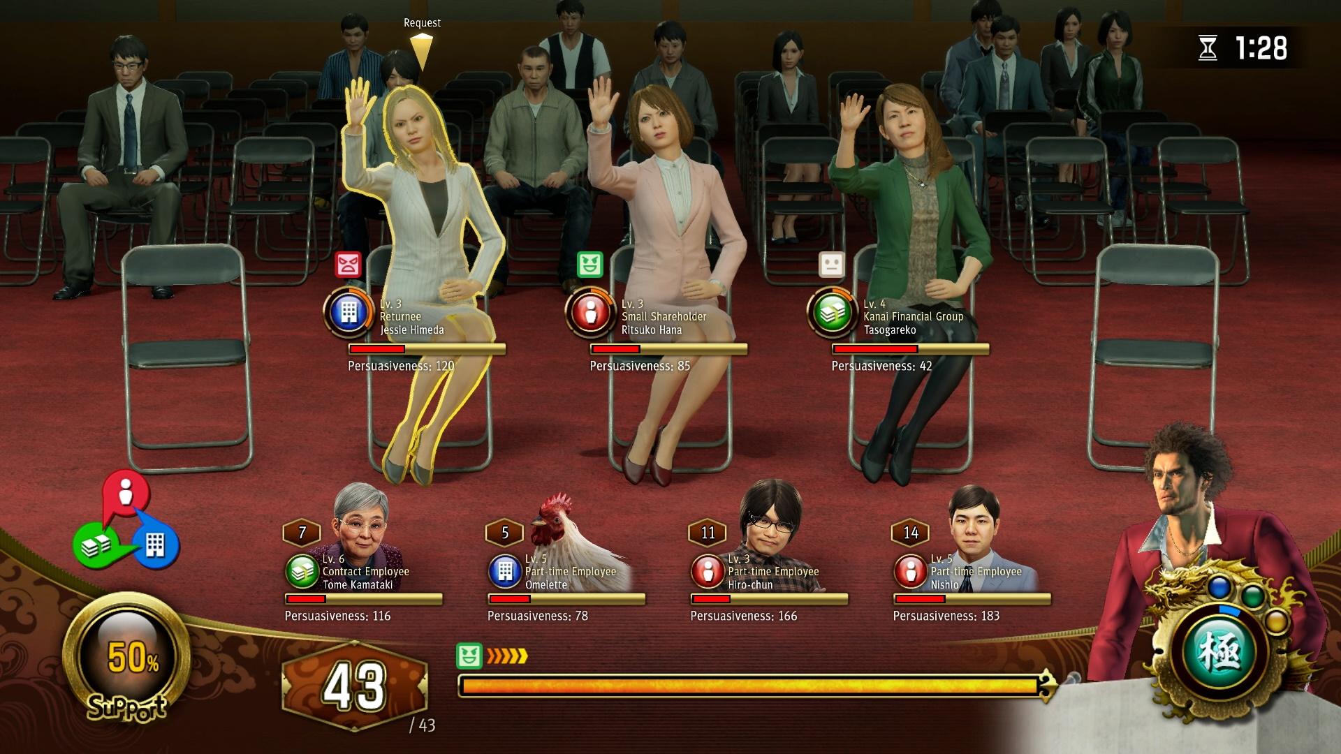 The shareholder meeting battle screen.