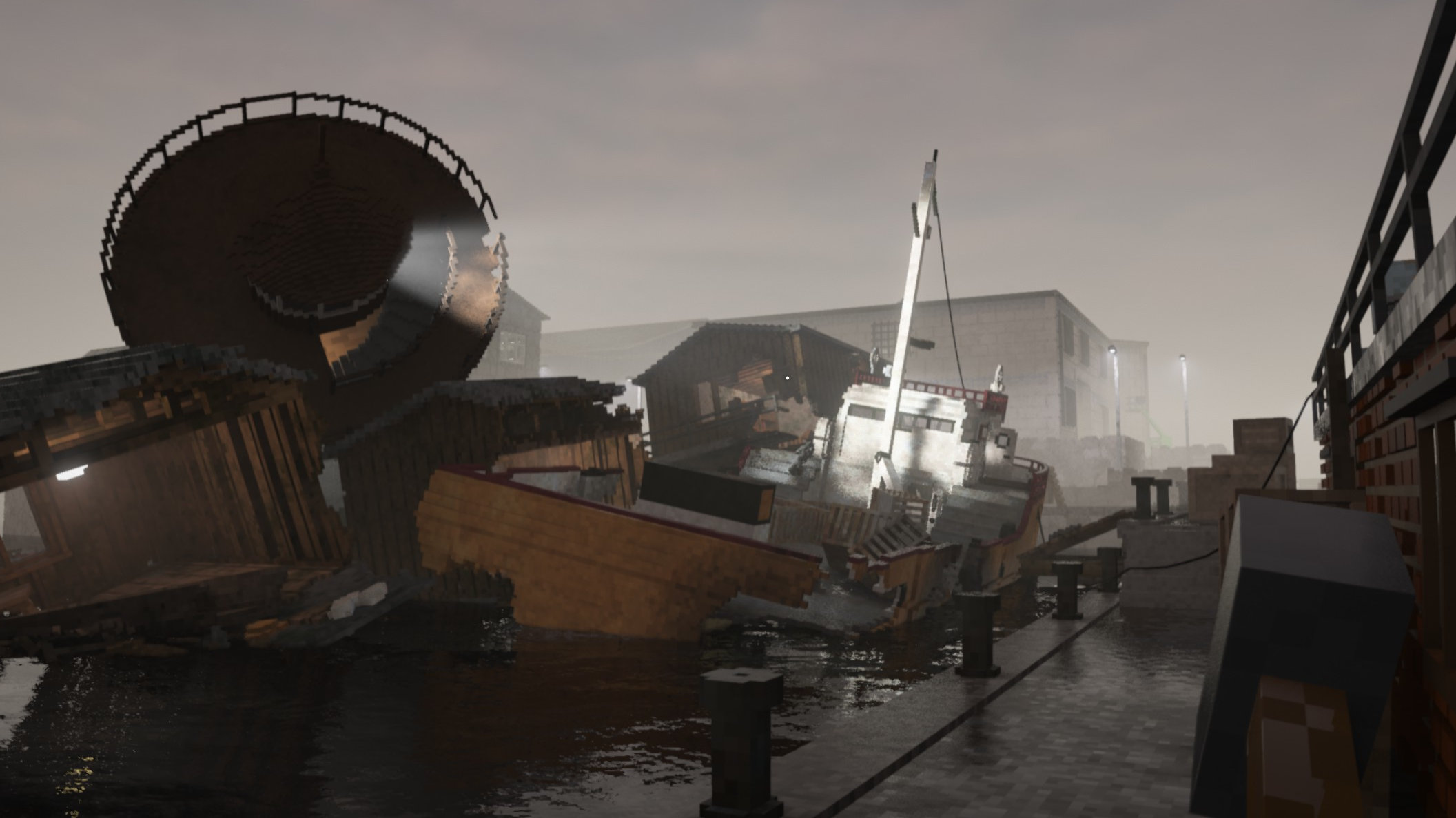 A view of a harbour in Teardown, where much has been torn down. A boat is half sunk, and there appears to be most of a lighthouse tower on top of it