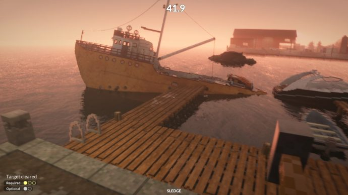 A screenshot of Teardown showing two boats on a boat, next to a boat.