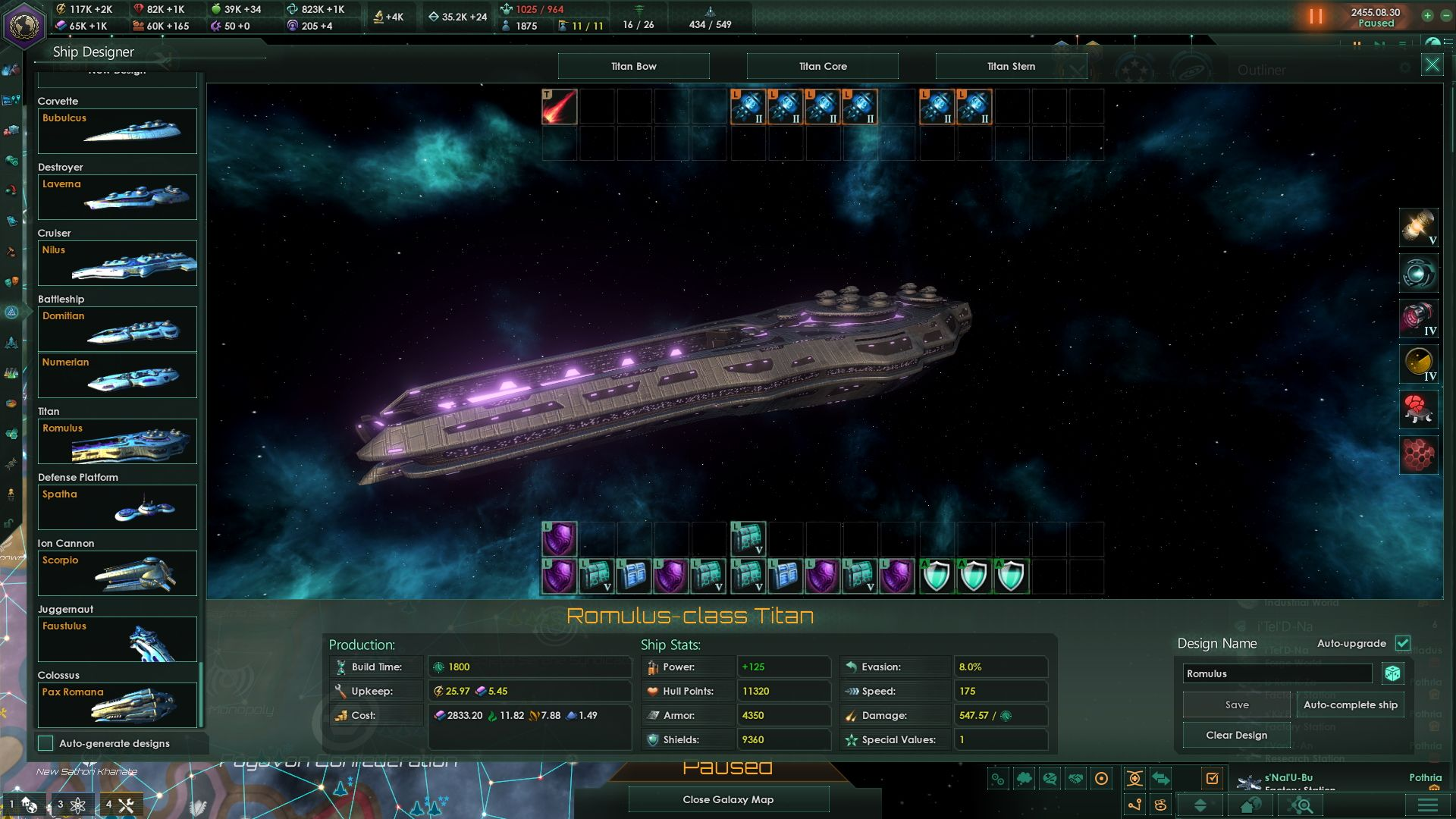 A Stellaris screenshot showing the ship designer UI. A large ship is surrounded by UI elements.