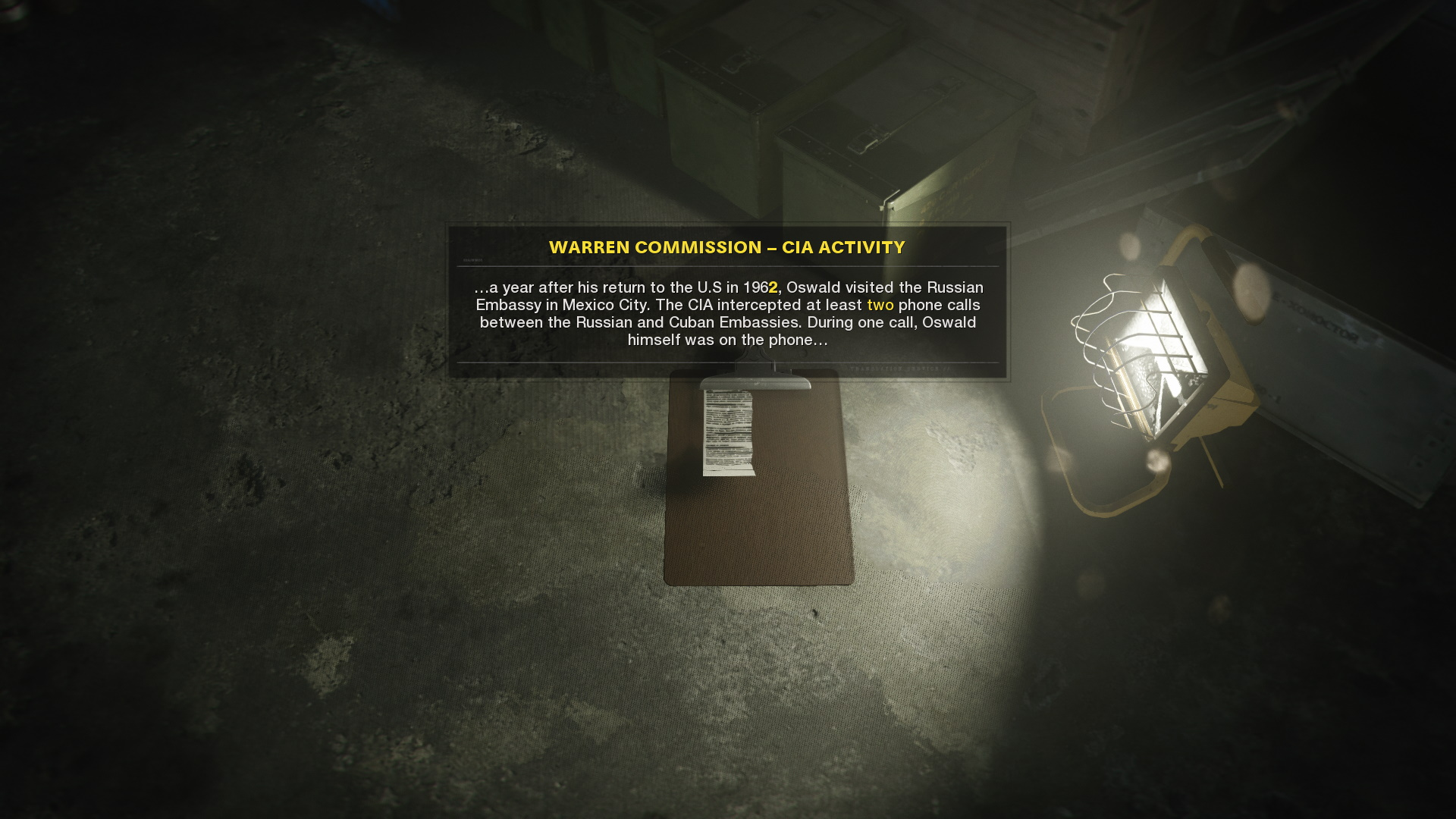 The warren commission note in Call of Duty Cold War's campaign safehouse. It reads: '...a year after his rerturn to the U.S in 1962, Oswald visited the Russian Embassy in Mexico City. The CIA intercepted at least two phone calls between the Russian and Cuban Embassies. During one call, Oswald himself was on the phone...'