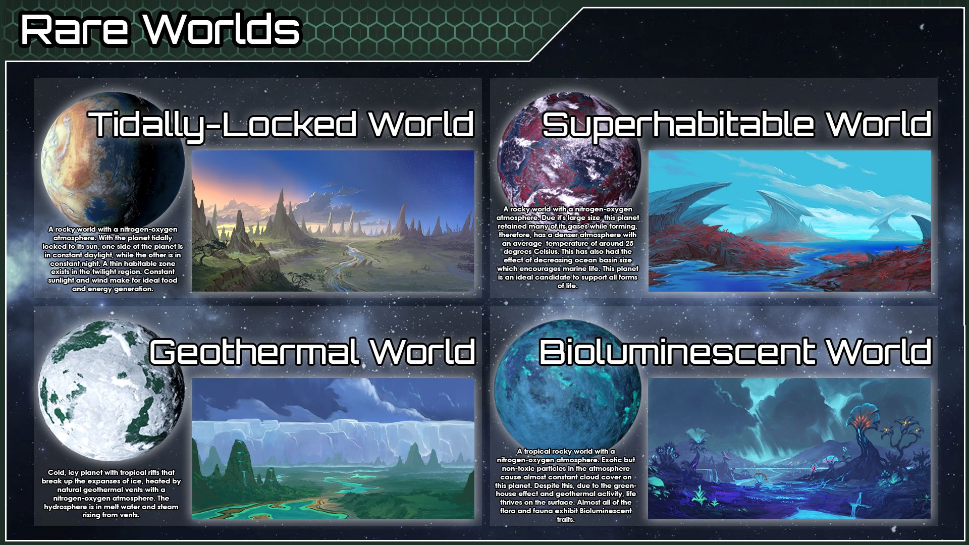 A Stellaris screenshot showing off four new planets