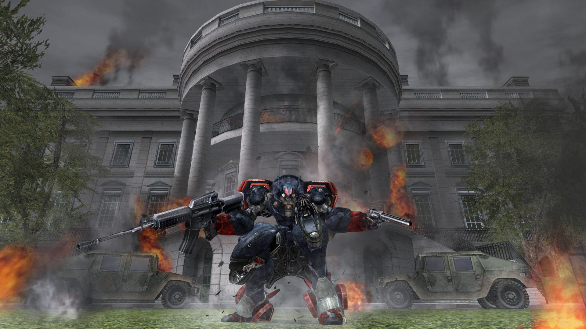 President Mciahel Wislon from Metal Wolf Chaos XD on the lawn in front of the Whitehouse, in a big mech suit and holding a machine gun and a revolver.
