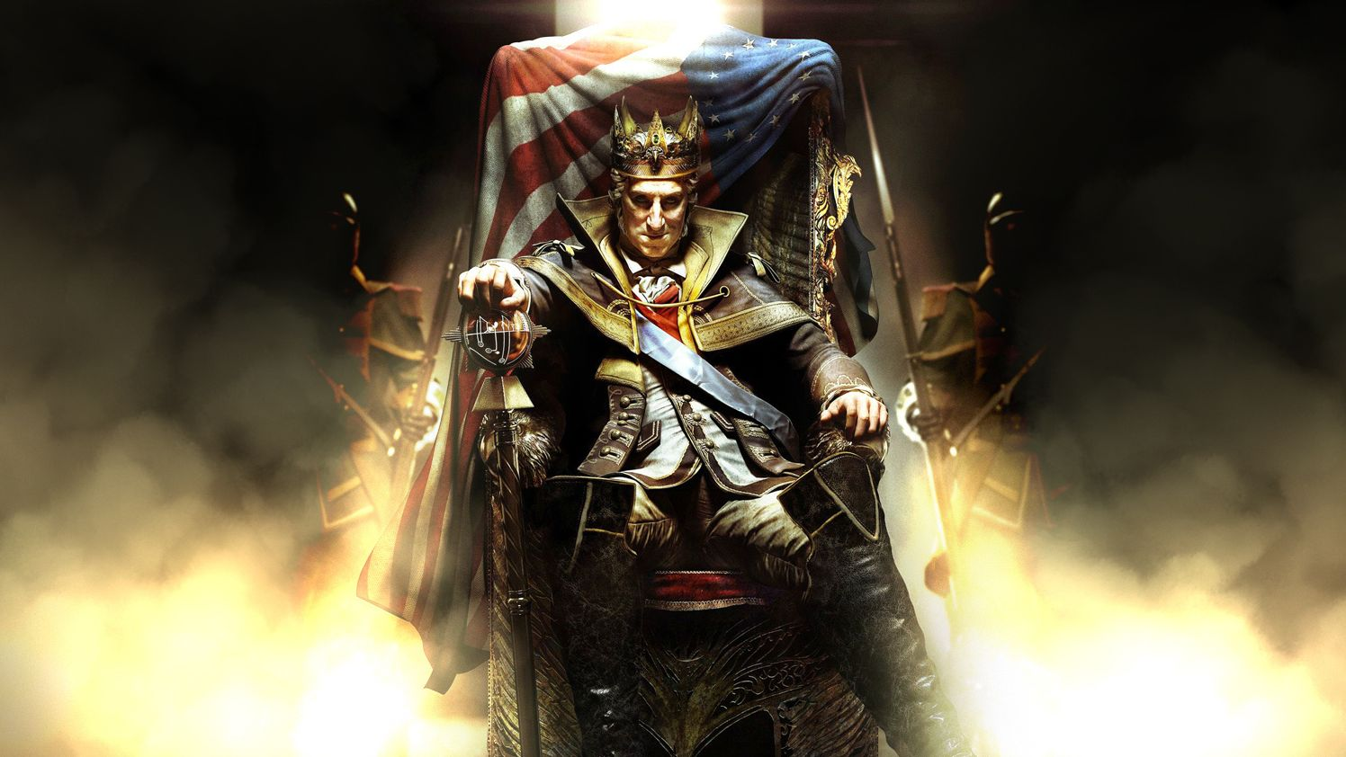 Assassin's Creed 3's version of George Washington sitting on a throne, draped in the early version of the American flag