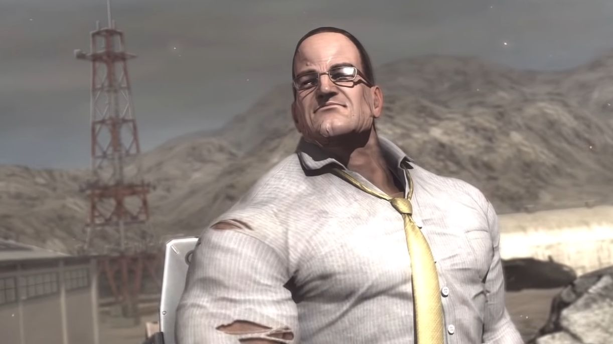 Steven Armstrong from Metal Gear Rising: Revengeance. He has a small head on massive shoulders. He looks like someone made a man out of a sack of pumpkins.