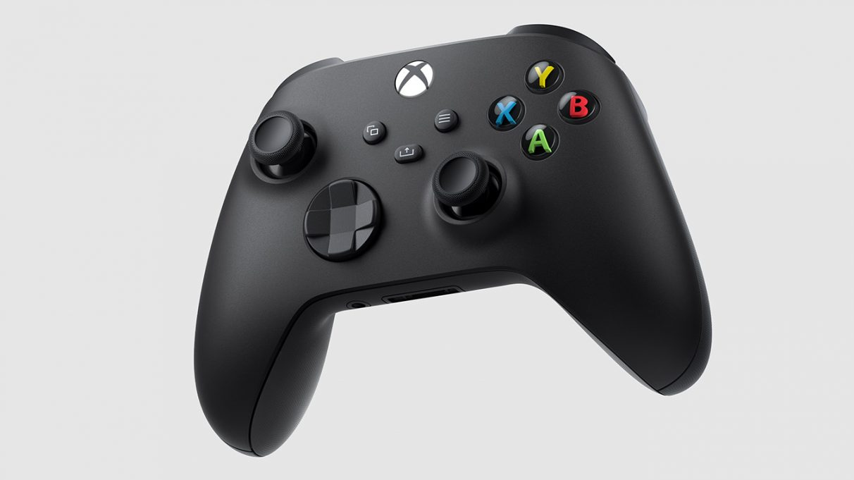 Photo of a black Xbox Series X controller.