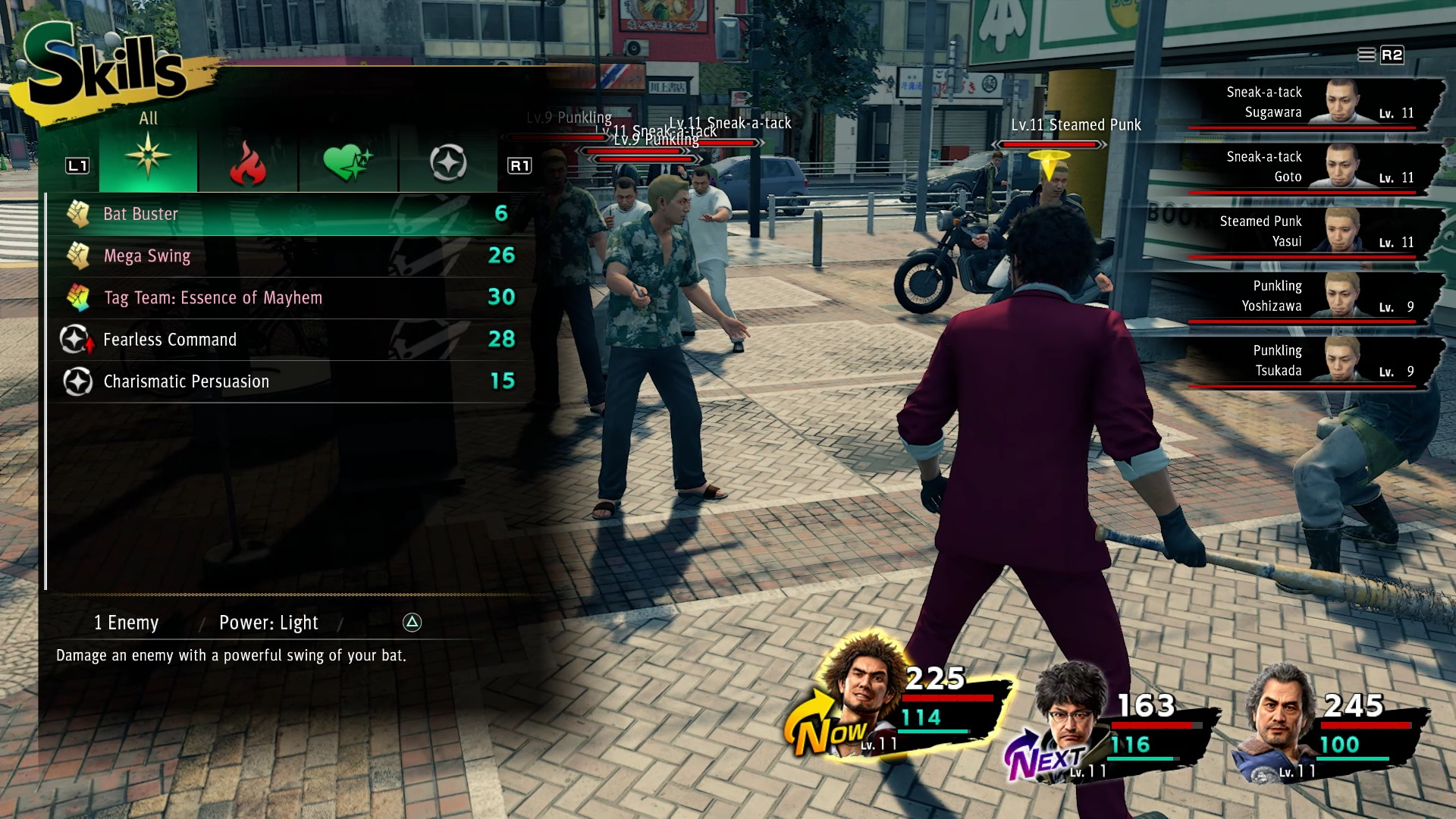 A battle scene in Yakuza: Like a Dragon. It shows a bunch of enemies in front of Kasuga, as he selects the skill he's going to use to send them all flying.
