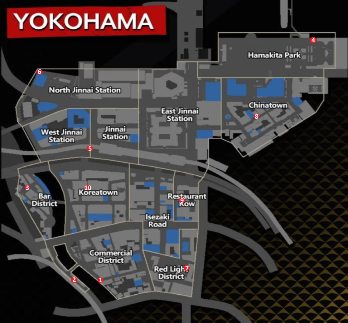A map of Yokohama which shows all the Kappa statue locations.