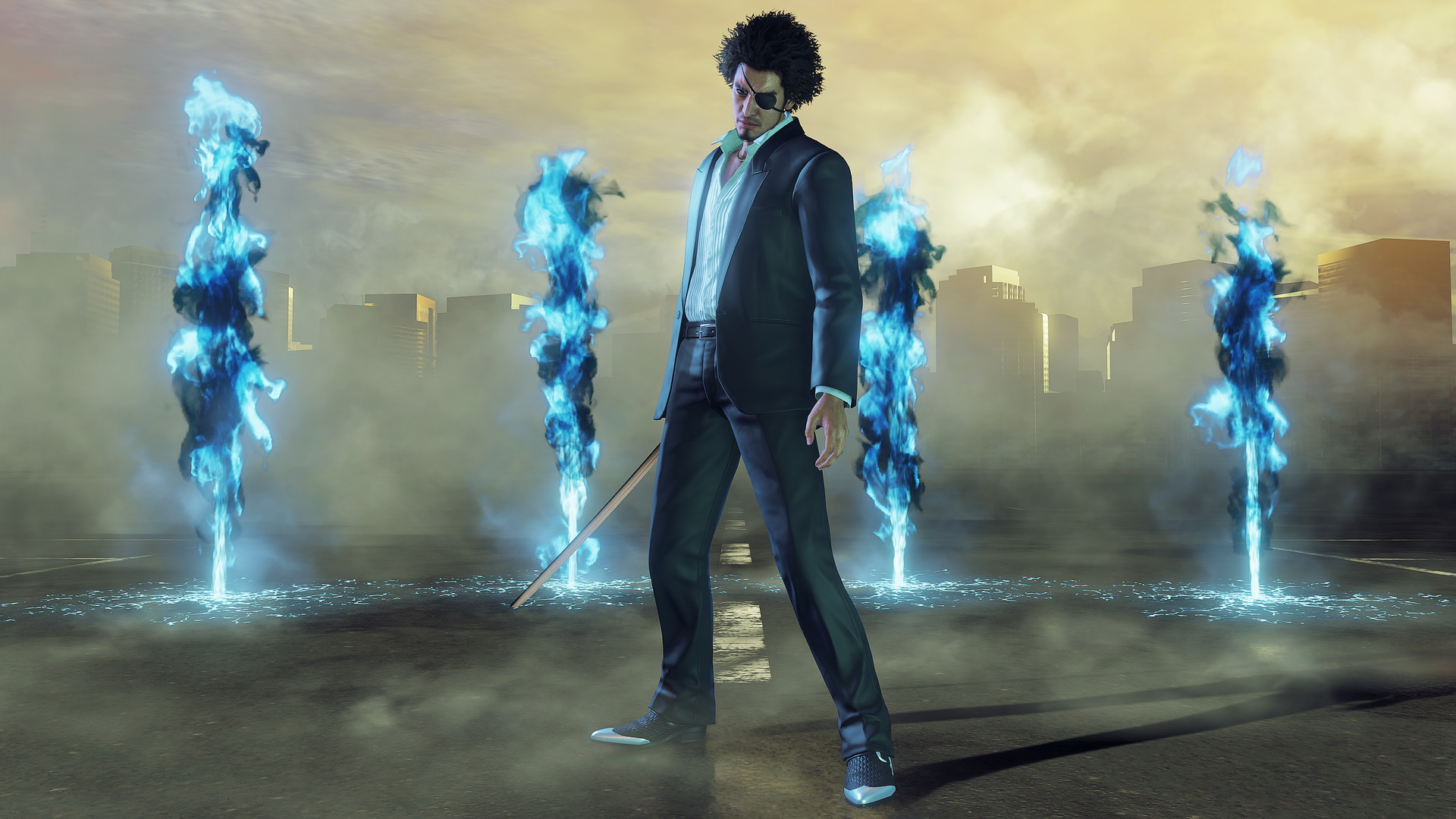 Kasuga dressed as Goro Majima stands menacingly with a sword by his side and jets of blue flame bursting into the air in the background.