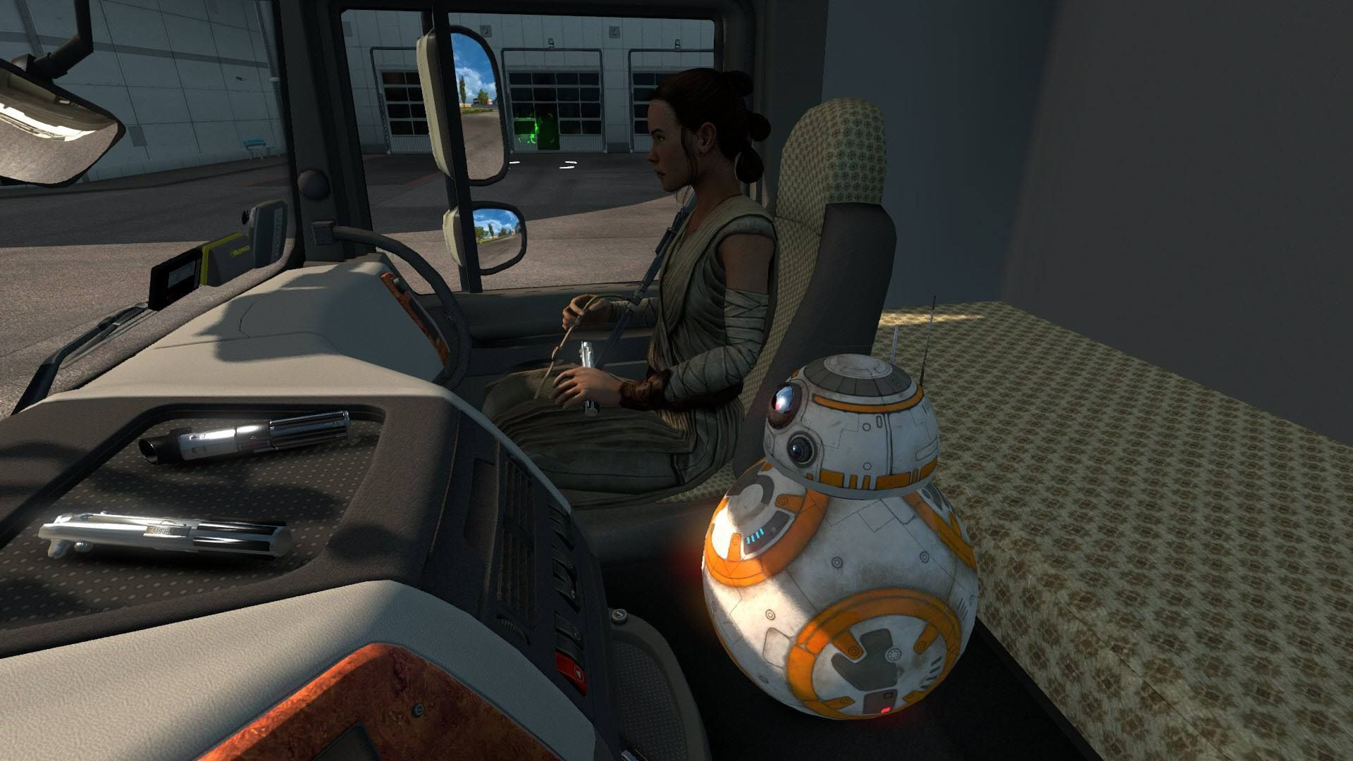 A Euro Truck Simulator 2 mod showing BB-8 and Rey from Star Wars sitting in a truck cab