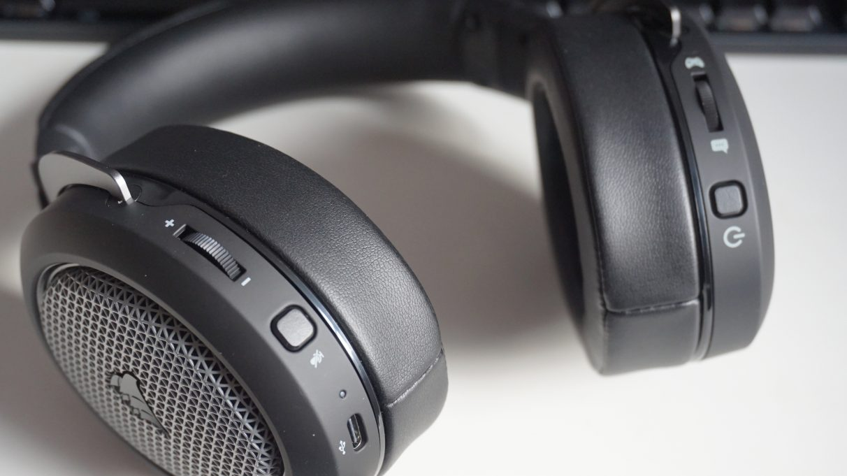 A close-up photo showing the Corsair HS75 XB Wireless' onboard headset controls