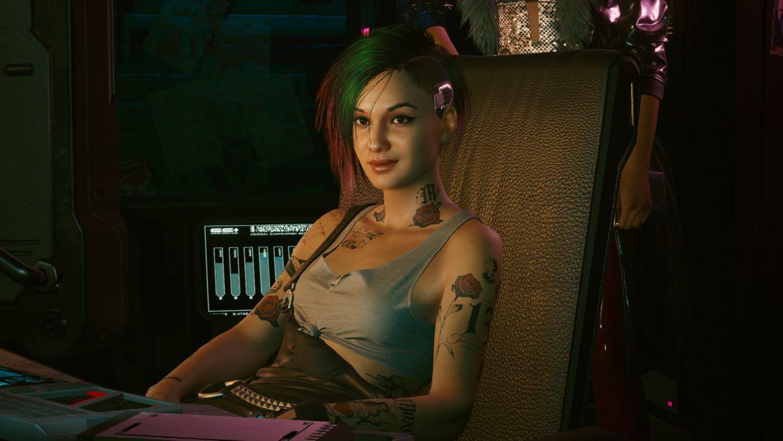 A screenshot of Judy Alvarez, taken using Cyberpunk 2077's Photo Mode.
