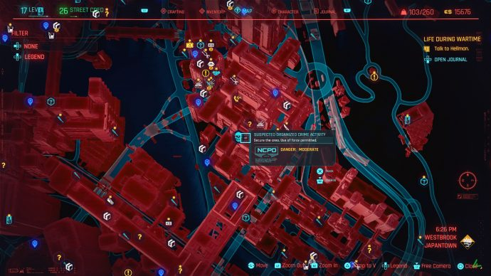 An organised street crime job icon on the map of Cyberpunk 2077's Night City