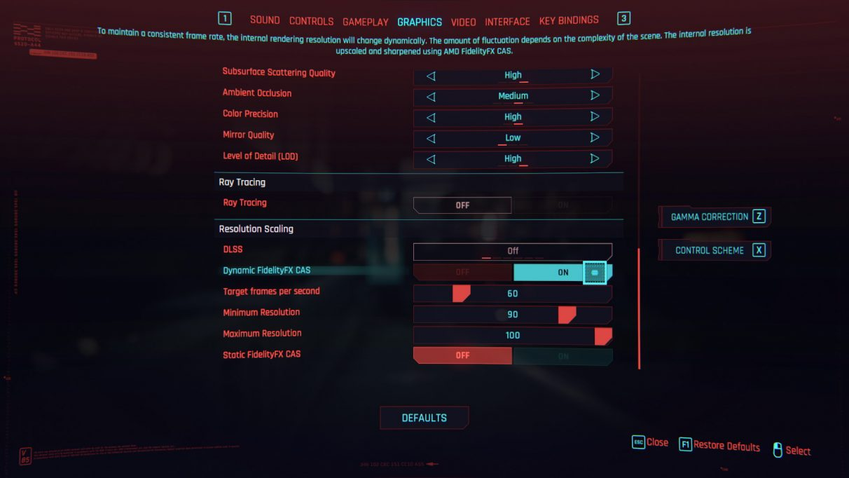 A screenshot of Cyberpunk 2077's FidelityFX CAS settings.