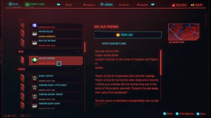 The Gigs mission menu in Cyberpunk 2077