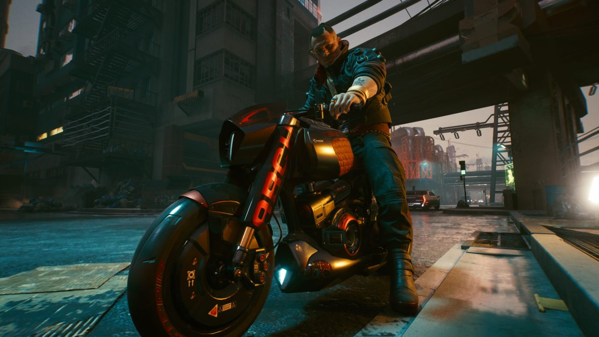 A screenshot of Jackie Wells on his motorcycle in Cyberpunk 2077, taken in Photo Mode.