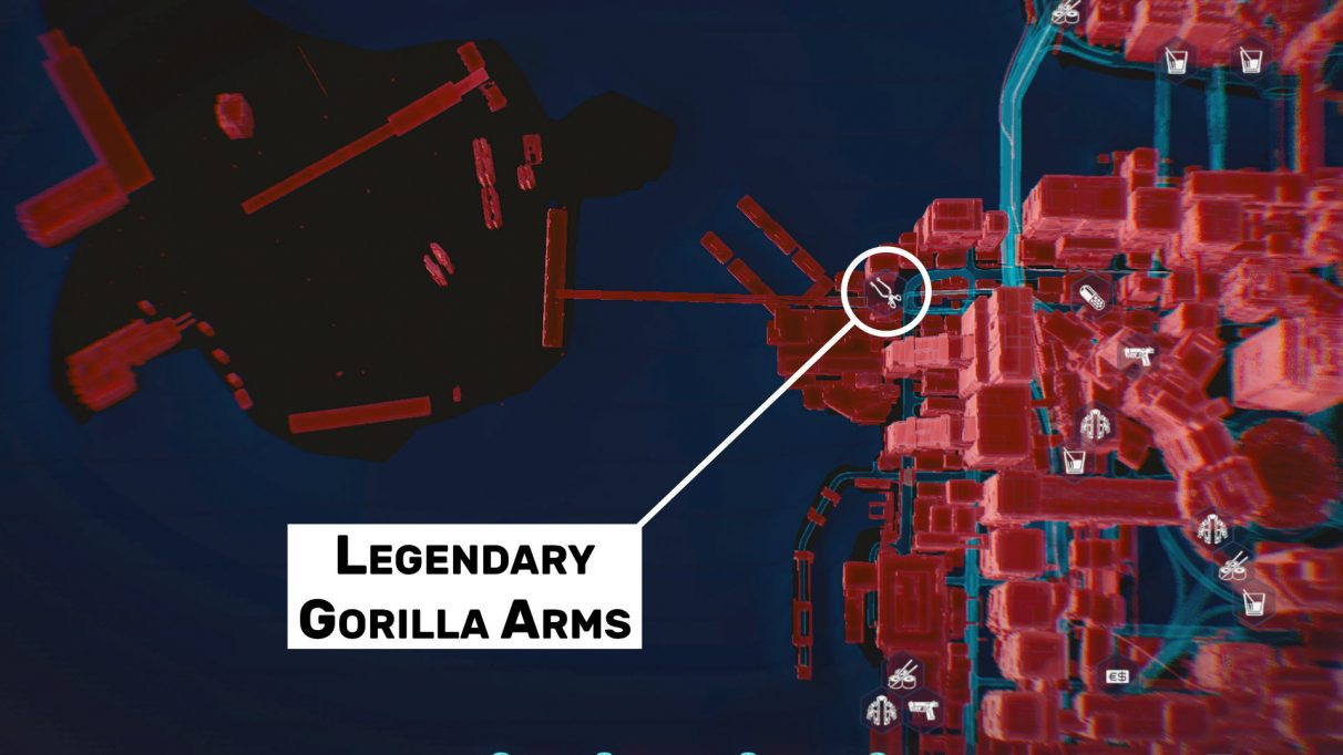 Go visit this ripperdoc on the coast Downtown in the City Centre to obtain the Legendary Gorilla Arms.