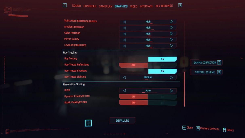 A screenshot of Cyberpunk 2077's RT Medium preset settings.