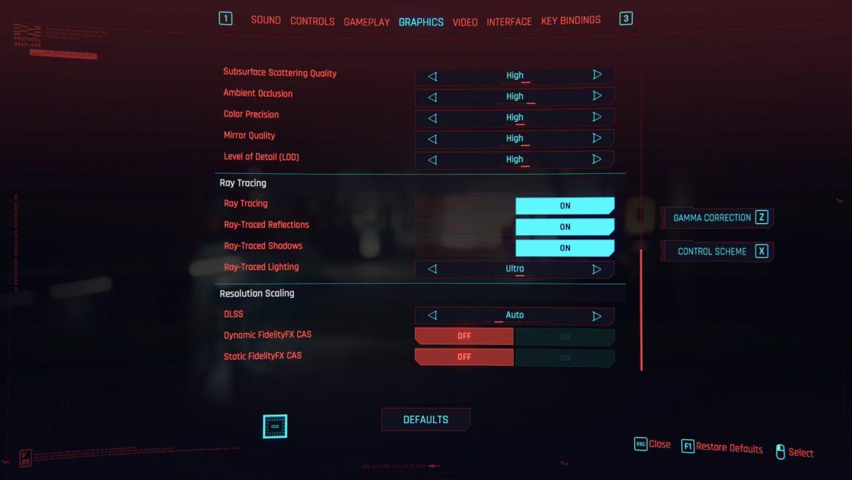 A screenshot of Cyberpunk 2077's RT Ultra preset settings.