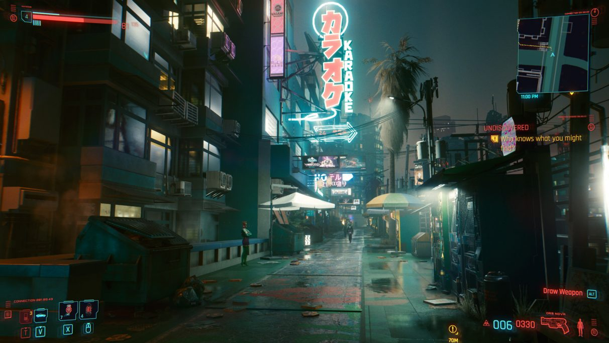 A screenshot of an alley at night in Cyberpunk 2077 on RT Ultra settings.
