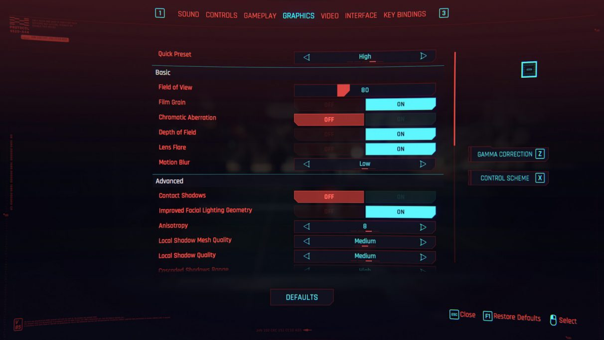 A screenshot of Cyberpunk 2077's graphics settings menu with the High preset selected.