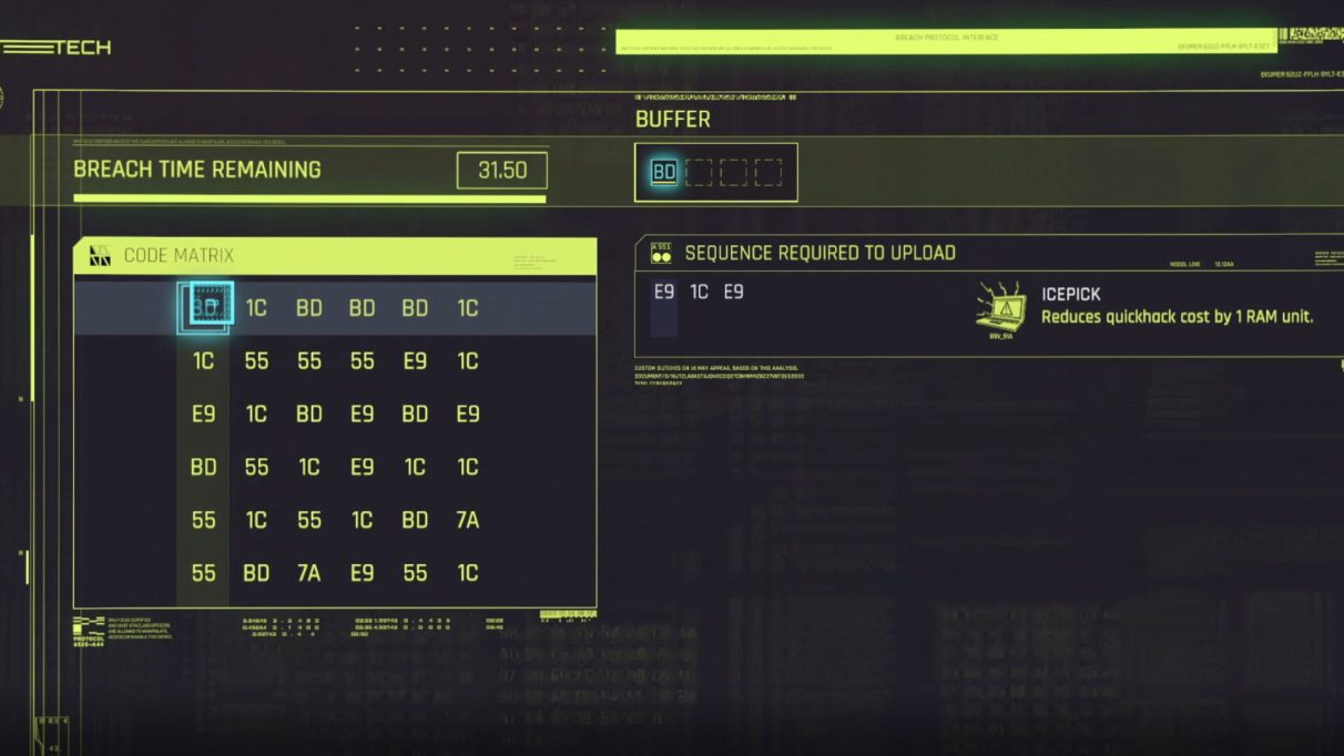 A screenshot of the Cyberpunk 2077 Breach Protocol hacking minigame.