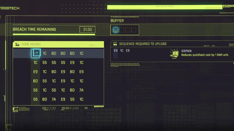 A screenshot of the Cyberpunk 2077 Breach Protocol hacking minigame.