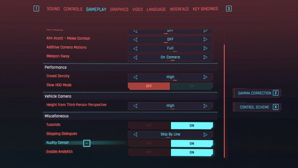A screenshot of the Gameplay tab of the main menu in Cyberpunk 2077, with the Nudity Censor highlighted.