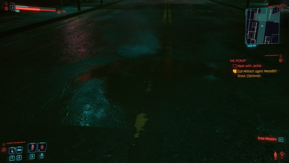 A screenshot of a puddle in an alleyway in Cyberpunk 2077 with RT Medium settings.