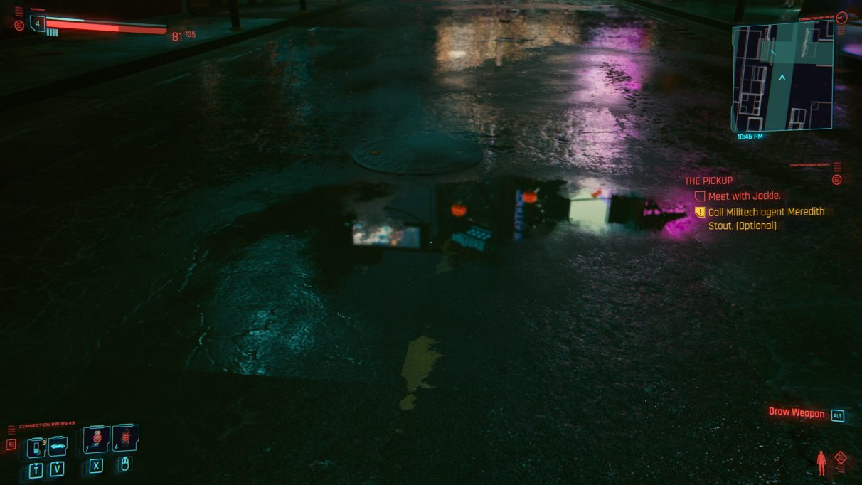 A screenshot of a puddle in an alleyway in Cyberpunk 2077 with RT Ultra settings.