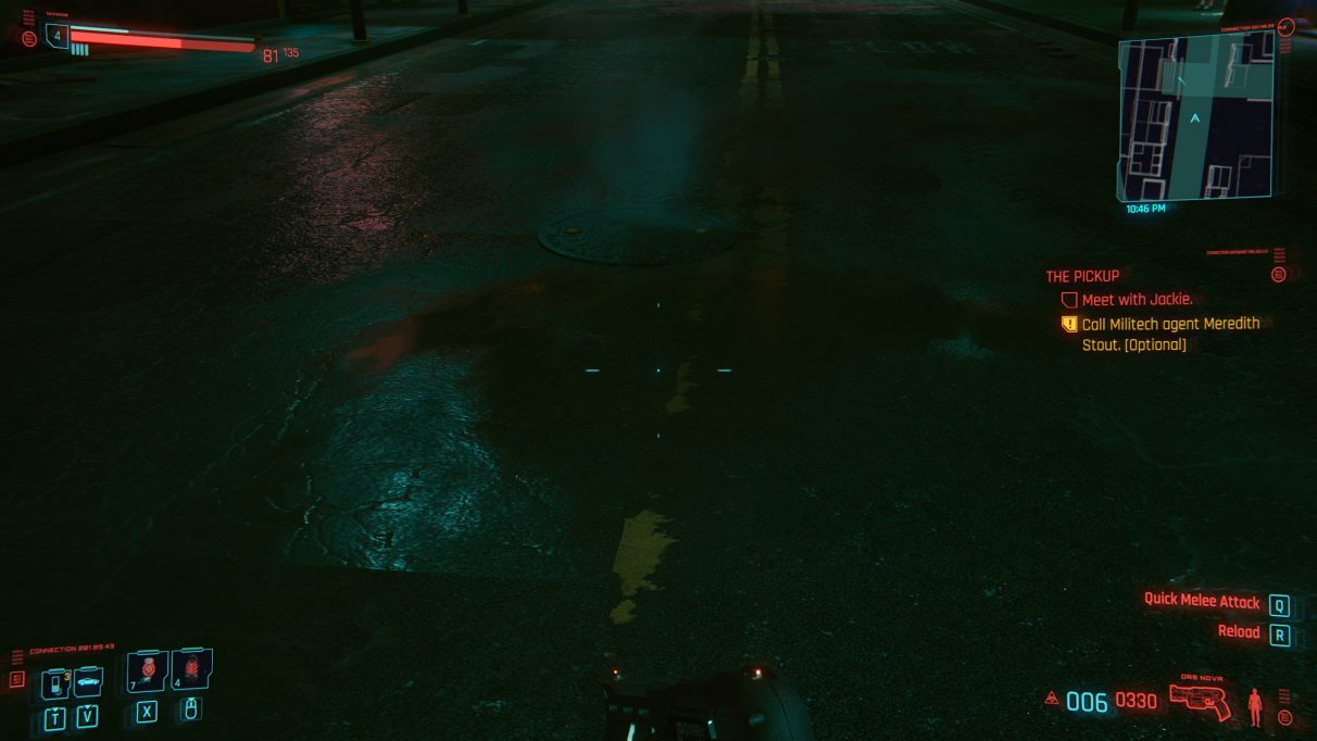 A screenshot of a puddle in an alleyway in Cyberpunk 2077 with Ultra settings.