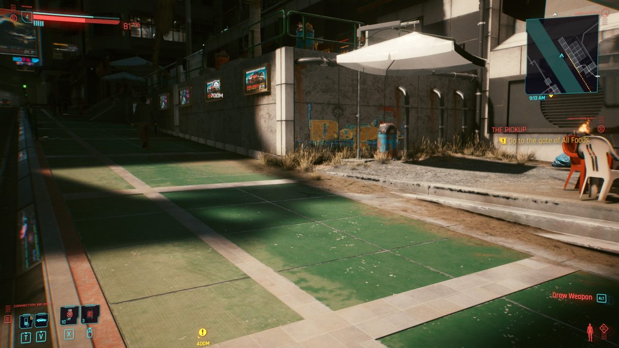 A screenshot of some shadows falling on a sunlit street in Cyberpunk 2077 with RT Ultra settings.
