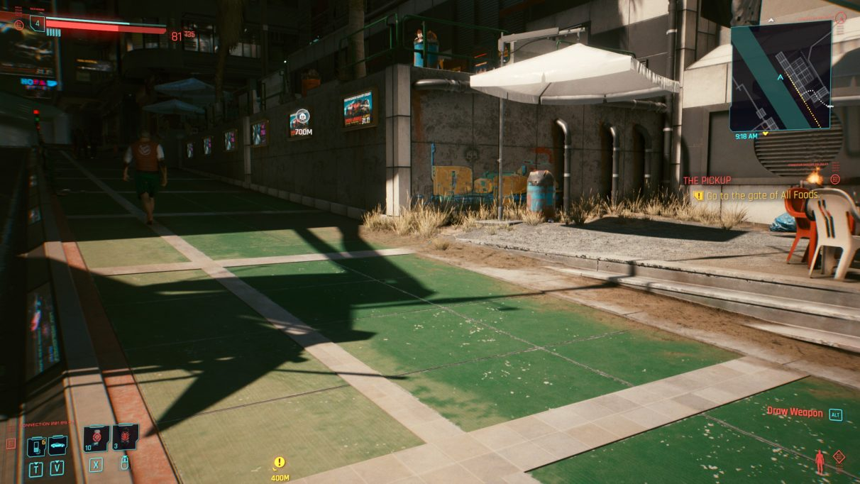 A screenshot of some shadows falling on a sunlit street in Cyberpunk 2077 with Ultra settings.
