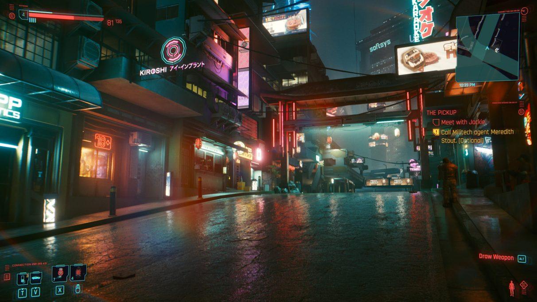 A screenshot of a street in Night City in Cyberpunk 2077 with Ultra settings.