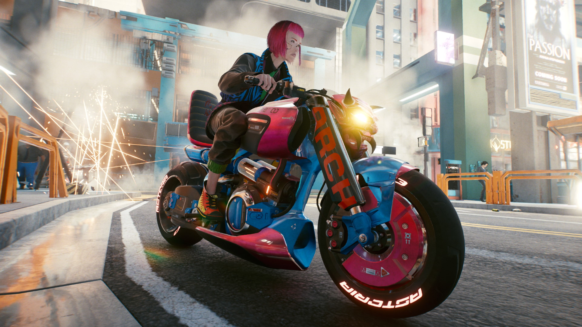 A screenshot of V riding a motorcycle with demon headlights in Cyberpunk 2077