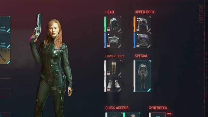 "A screenshot of the Cyberpunk 2077 inventory, with the player character's main clothes hidden under an item of ""special"" clothing."