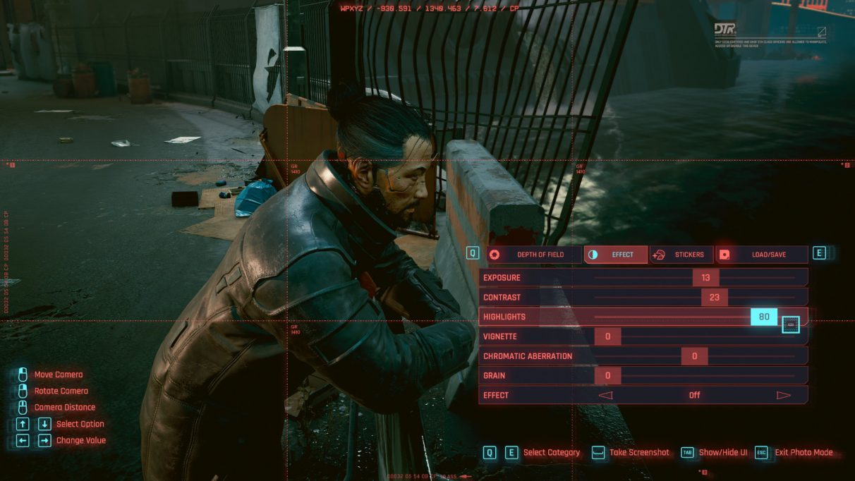 A screenshot of the Cyberpunk 2077 Photo Mode. In the bottom-right you can see the settings panel, where you can edit your photo in real-time.