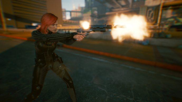A screenshot of V using a Revolver in Cyberpunk 2077. Taken using Photo Mode.