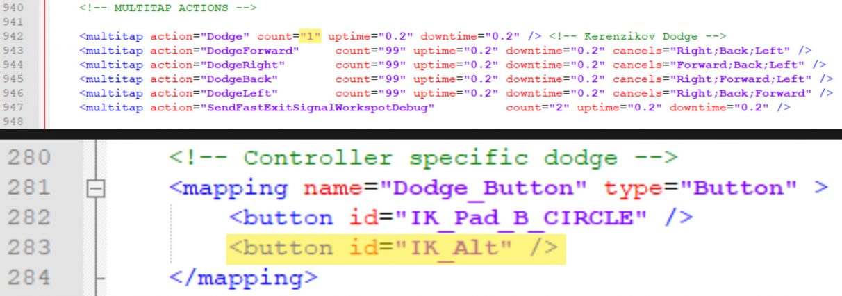 """A screenshot of the two files that needed changing. On top is """"inputContexts.xml"""" and on the bottom is """"inputUserMappings.xml"""". The changes are highlighted yellow."""