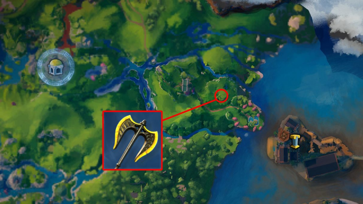 A screenshot of the Immortals Fenyx Rising map with the location of the Forbidden Labrys axe highlighted.