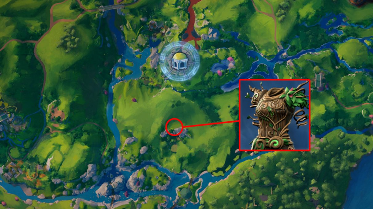 A screenshot of the map with the location of the Love's Embrace armor highlighted.