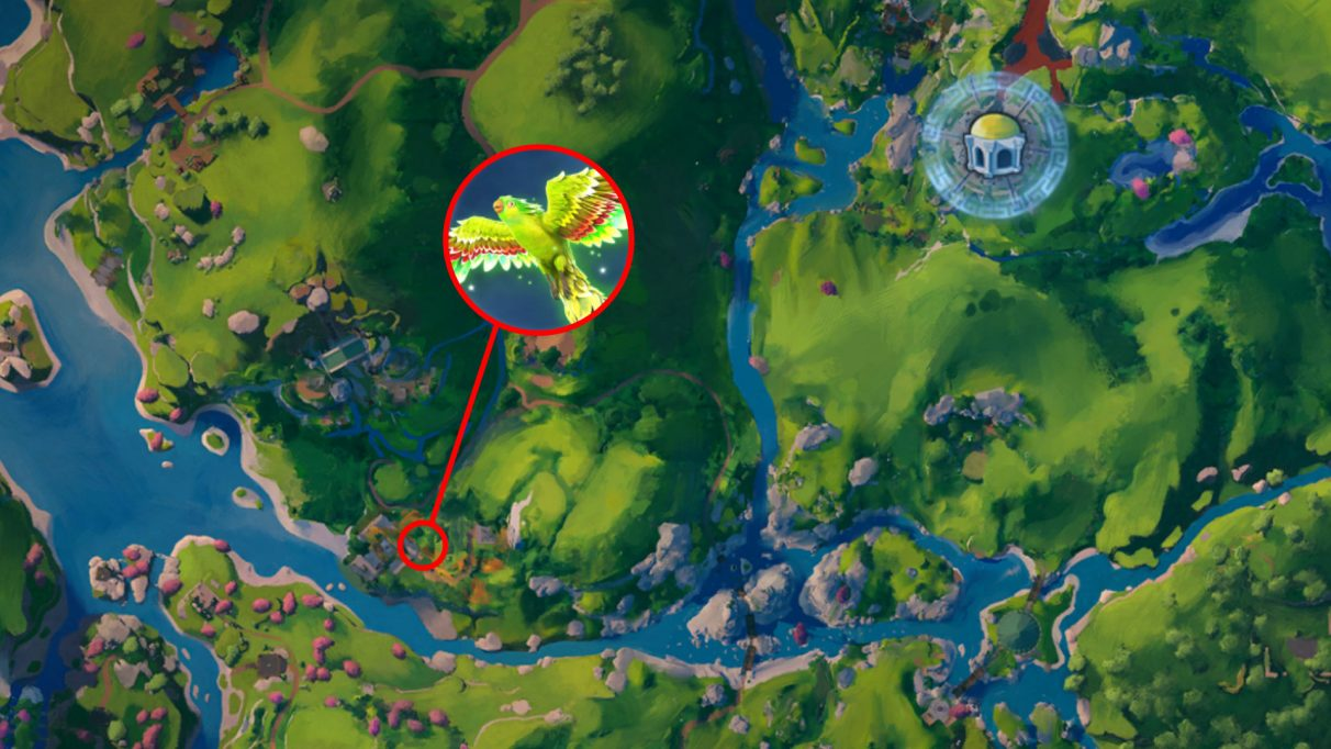A screenshot of the Immortals Fenyx Rising map with the location of Phosphor the Lovebird highlighted.