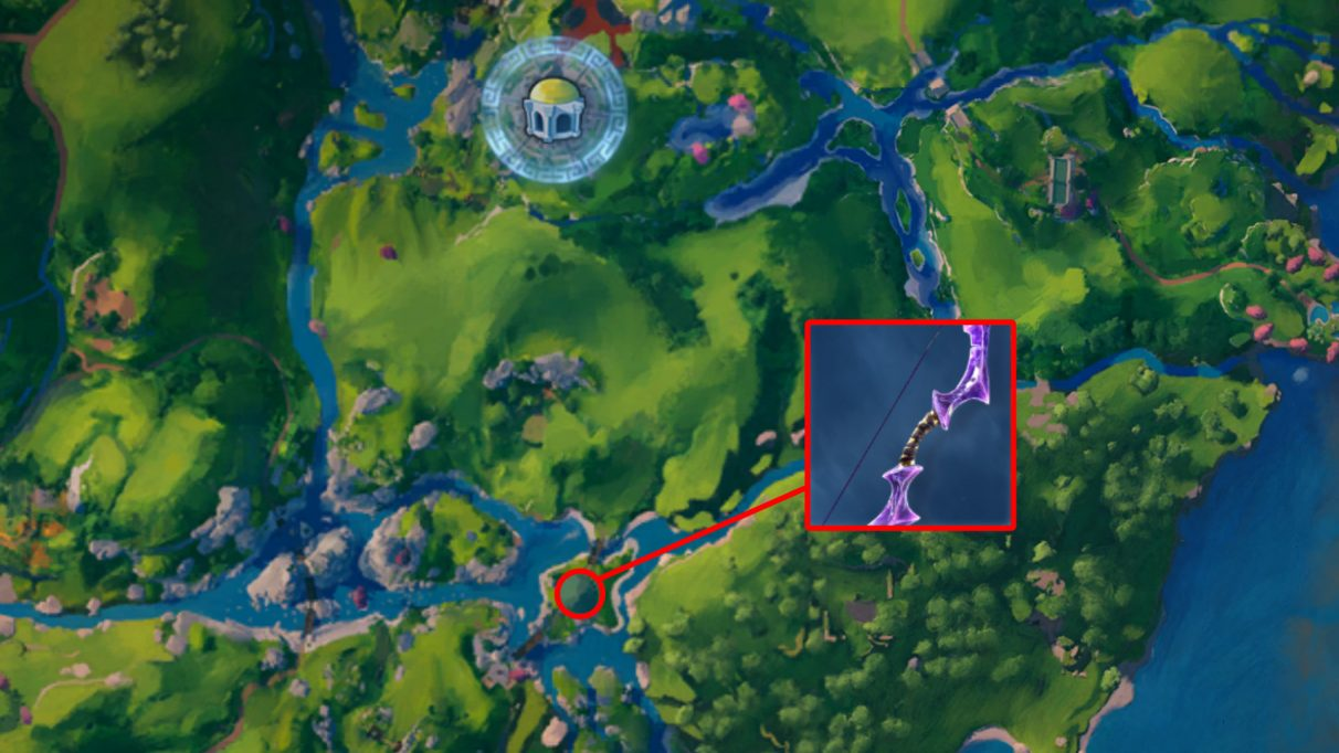 A screenshot of the Immortals Fenyx Rising map with the location of the Resistance bow highlighted.
