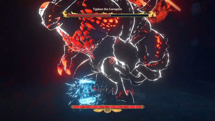 A screenshot of the first fight with Typhon the Corruptor.