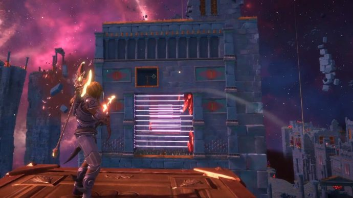 Shoot the target above with an Apollo's Arrow to disable the laser field just before you move through it.