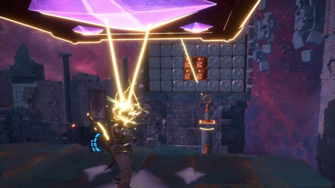 Throw the Orichalcum cubes at the walls to break them down so you can complete the arrow challenges.