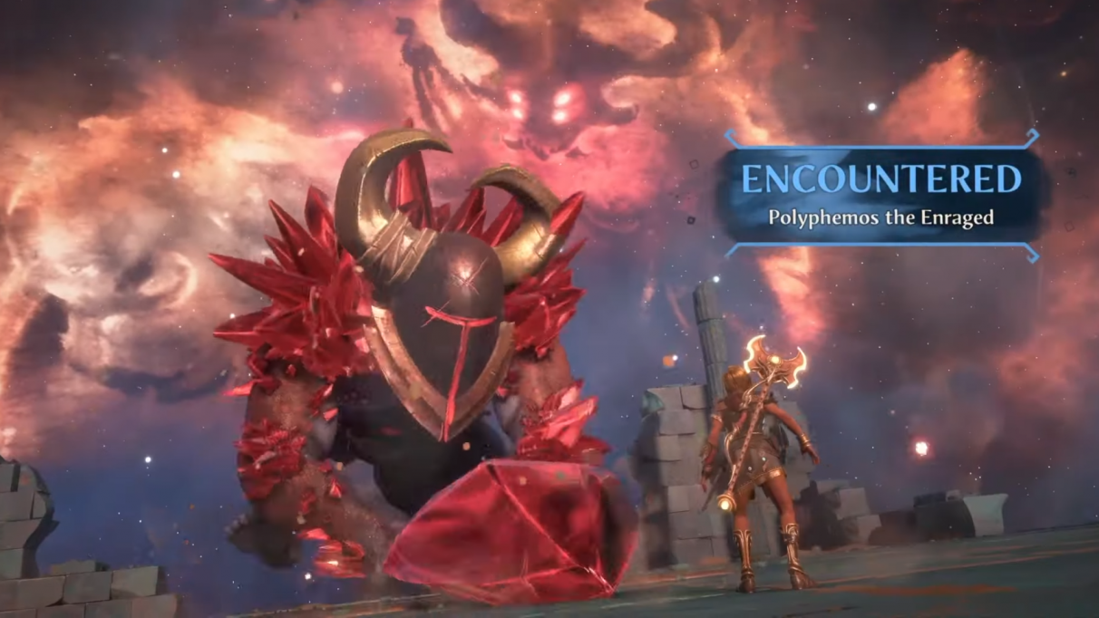 Polyphemos the Enraged is the boss of the Vault of Hephaistos. He uses lots of unblockable attacks, so dodging is a must.