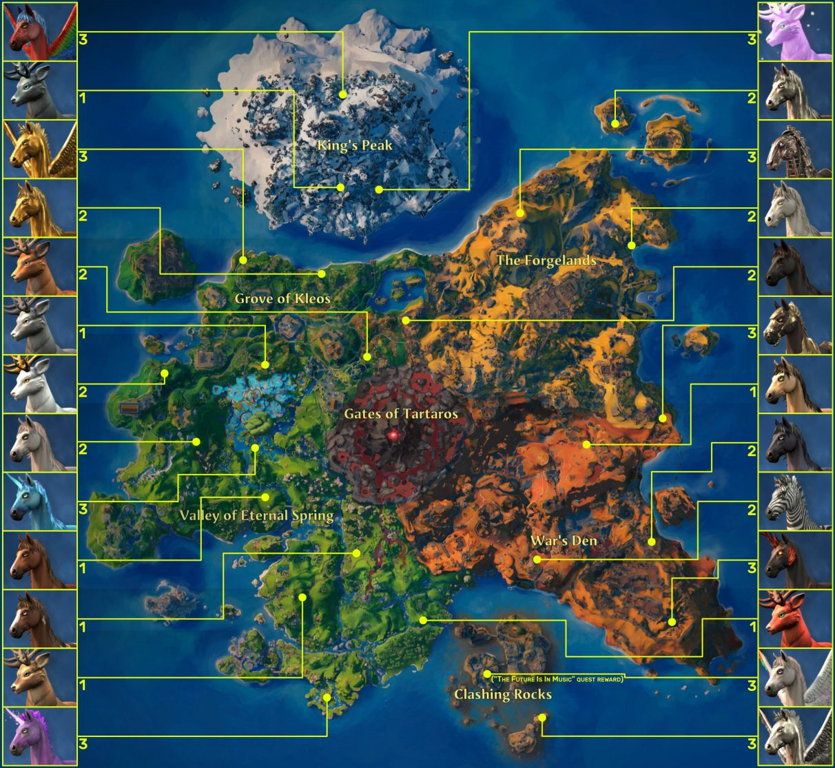 A map of Immortals Fenyx Rising with the location of every potential mount highlighted.