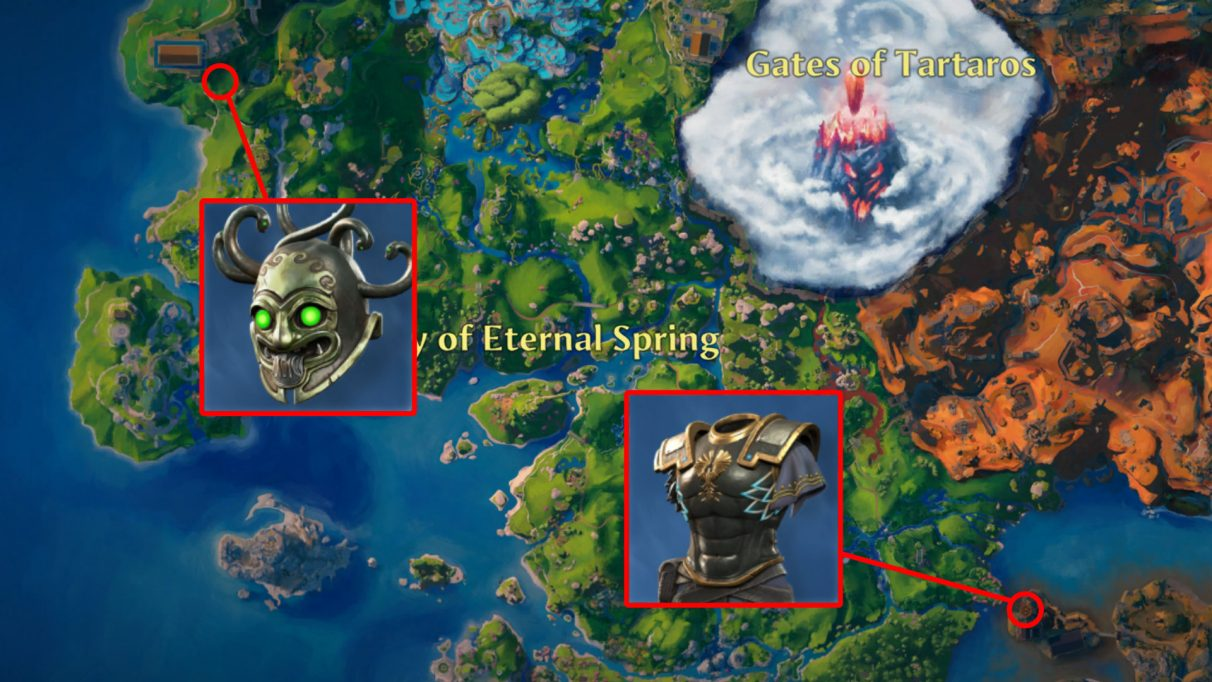 A screenshot of part of the Immortals Fenyx Rising map, with the locations of the Valor of the Soldier breastplate and Stoneglare Mask helmet highlighted.