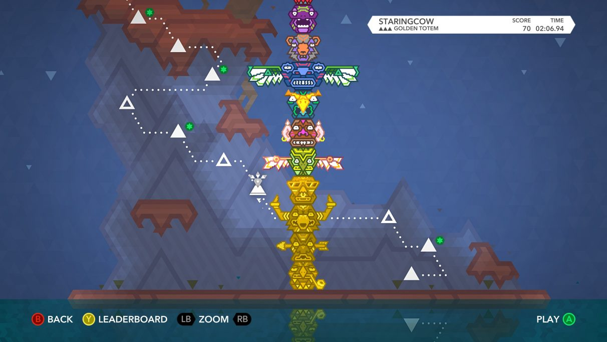 A screenshot of Kalimba's mission screen, which also has a giant totem pole stacked in the centre of the screen.